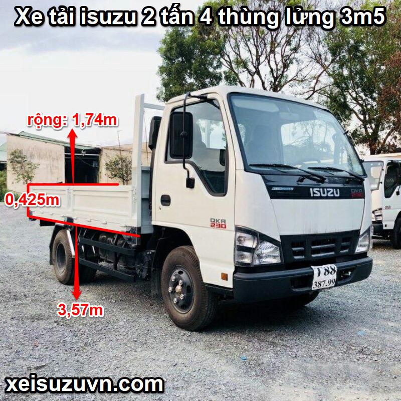 Kích thước thùng lửng Xe tải ISUZU 2.4 Tấn