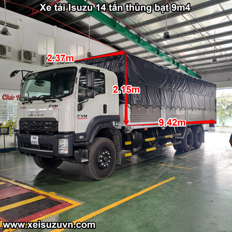 xe tai isuzu 14 tan fvm 1500 thung bat 9m4 fvm34we4