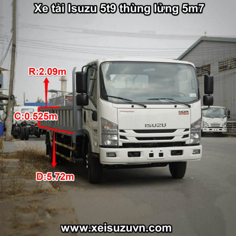 xe tai isuzu 5t9 nqr 550 thung lung 5m7 nqr75le4 mt